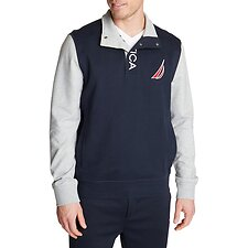 Image of Nautica NAVY SNAP PLACKET FRENCH TERRY PULLOVER
