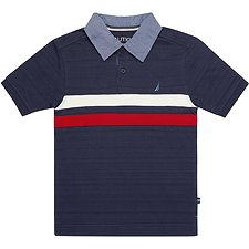 Image of Nautica SPACE NAVY BOYS CHEST STRIPE HERITAGE POLO