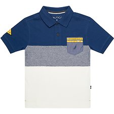 Image of Nautica DARK BLUE BOYS POCKET STRIPE HERITAGE POLO