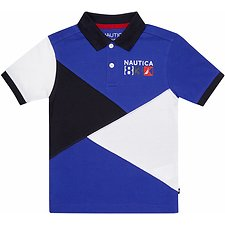 Image of Nautica COBALT BOYS GRAPHIC PIECED HERITAGE POLO