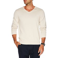 Image of Nautica OATMEAL HEATHER Big & Tall Long Sleeve Solid V-Neck Sweater