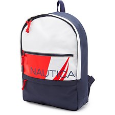 Image of Nautica WHITE Tri-Colour Logo Backpack