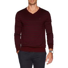 Image of Nautica ROYAL BURGUN V-neck stripe sweater