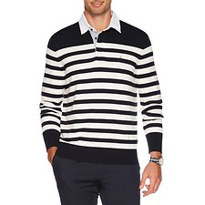 Picture of LONG SLEEVE STRIPE RUGBY POLO SWEATER