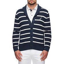 Picture of BUTTON-FRONT SHAWL-COLLAR STRIPED CARDIGAN