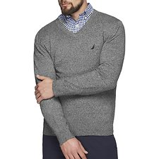 Image of Nautica ESTATE BLUE JERSEY NAVTECH V-NECK SWEATER