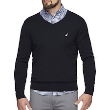 Image of Nautica NAVY JERSEY NAVTECH V-NECK SWEATER