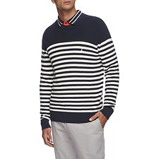Image of Nautica NAVY NAVTECH BRETON STRIPE CREWNECK SWEATER