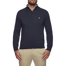 Image of Nautica NAVY NAVTECH SOLID QUARTER ZIP SWEATER