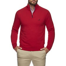Image of Nautica NAUTICA RED NAVTECH SOLID QUARTER ZIP SWEATER