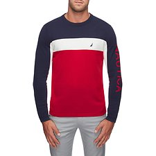 Image of Nautica NAUTICA RED MODERN STRIPE CLRBLK LOGO SWEATER