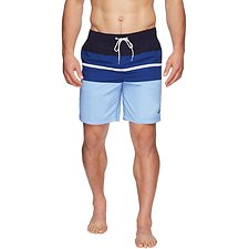 "Image of Nautica NAVY 19"" TRI COLOURBLOCK SWIM"