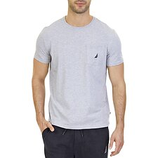 Image of Nautica GREY HEATHER LOGO POCKET T-SHIRT