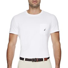 Image of Nautica BRIGHT WHITE LOGO POCKET T-SHIRT