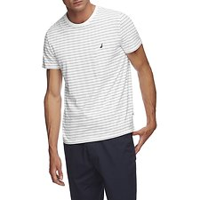 Image of Nautica BRIGHT WHITE SHORT SLEEVE CLASSIC STRIPE T-SHIRT