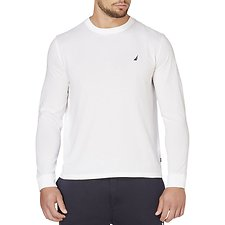 Image of Nautica BRIGHT WHITE CLASSIC FIT LONG SLEEVE TEE