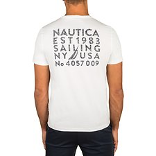 Image of Nautica BRIGHT WHITE SAILING GEOMETRIC SHORT SLEEVE TEE