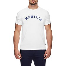 Image of Nautica BRIGHT WHITE NAUTICA IVY LEAGUE SHORT SLEEVED TEE - UNISEX