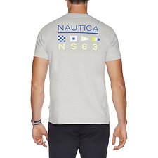 Image of Nautica GREY HEATHER REFLECT FLAG SHORT SLEEVE TEE