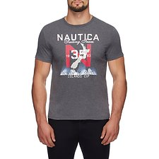 Image of Nautica CHARCOAL HEATHER NORTH TO SOUTH SAILING TEAM TEE