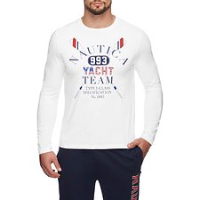 Image of Nautica BRIGHT WHITE NAUTICA YACHT TEAM LONG SLEEVE TEE