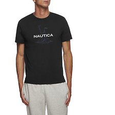 Image of Nautica BLACK SHORT SLEEVE ANCHOR FLAG GRAPHIC T-SHIRT