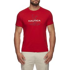 Image of Nautica FLARE RED SHORT SLEEVE ANCHOR FLAG GRAPHIC T-SHIRT