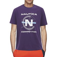 Image of Nautica NEW GRAPE NAUTICA COMPETITION FOOTACTION COMPASS GRAPHIC TEE