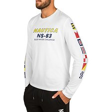 Image of Nautica BRIGHT WHITE BLUE WATER CHALLENGE GRAPHIC LONG SLEEVE TEE