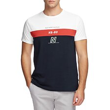 Image of Nautica BRIGHT WHITE BLUE WATER CHALLENGE BANDED GRAPHIC TEE