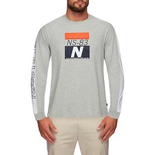 Image of Nautica GREY HEATHER OPEN WATER CHALLENGE GRAPHIC LONG SLEEVE TEE