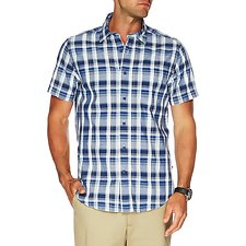 Image of Nautica MARINE BLUE SHORT SLEEVE PLAID SHIRT
