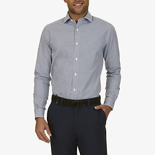 Image of Nautica BRIGHT COBALT LONG SLEEVE PLAID WRINKLE RESISTANT FORMAL SHIRT