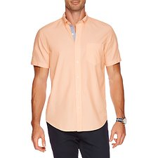Image of Nautica ORANGE TANG SHORT SLEEVE BUTTON DOWN STRIPE SHIRT