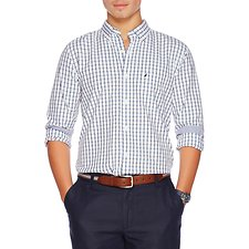 Image of Nautica NAVY LONG SLEEVE TATTERSAL BUTTON DOWN COLLAR SLIM SHIRT