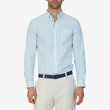 Image of Nautica CALYPSO BLUE LONG SLEEVE TATTERSAL BUTTON DOWN COLLAR SLIM SHIRT