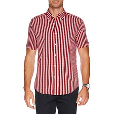 Image of Nautica NAUTICA RED SHORT SLEEVE BUTTON DOWN COLLAR GINGHAM SHIRT