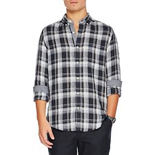 Image of Nautica MARITIME NAVY LONG SLEEVE BUTTON DOWN COLLAR PLAID SHIRT