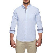 Image of Nautica LT FRENCH BL LONG SLEEVE STRETCH EOE POPLIN SHIRT