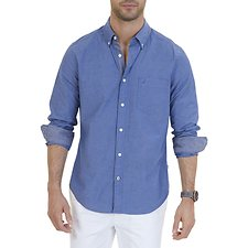 Image of Nautica RIVIERA BLUE LONG SLEEVE STRETCH EOE POPLIN SHIRT