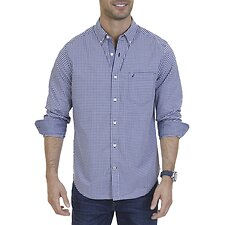 Image of Nautica J.NAVY LONG SLEEVE GINGHAM POPLIN SHIRT