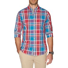 Picture of Button down collar long sleeve plaid shirt