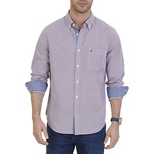 Picture of Button down collar long sleeve micro plaid shirt