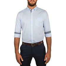 Image of Nautica COASTAL SKY LONG SLEEVE COASTAL GINGHAM POPLIN SHIRT