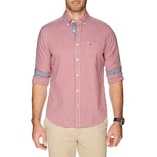 Image of Nautica BIKING RED LONG SLEEVE COASTAL GINGHAM POPLIN SHIRT