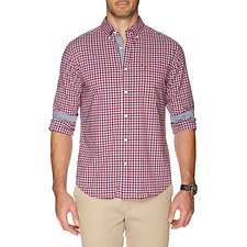 Image of Nautica BIKING RED LONG SLEEVE PLAID POPLIN SHIRT