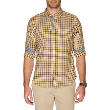 Image of Nautica YELLOW GOLD LONG SLEEVE PLAID POPLIN SHIRT