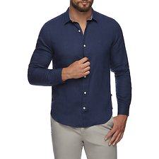 Image of Nautica JUST NAVY CLASSIC LONG SLEEVED LINEN SHIRT