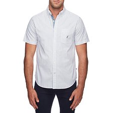 Image of Nautica BRIGHT WHITE PYJAMA STRIPE SHORT SLEEVE SHIRT