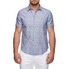 Image of Nautica MONACO BLUE SS BOAT PRINTCHAMBRAY SHIRT